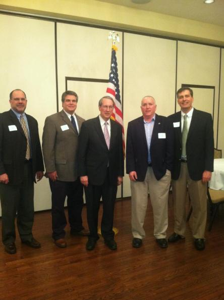 Farm Credit employees and directors meet with US Representative Bob Goodlatte (VA-6), pictured center, at a reception in Harrisonburg, VA on March 7, 2013.
